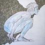 blaulaufen, 2015, Acryl, Kohle und Papiercollage auf Leinwand, 90 x 90 cm