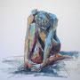 mit mir, 2015, Acryl und Kohle auf Leinwand, 90 x 90 cm