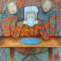 """michou hutter, """"bei tisch"""", 2016, 80 x 60 cm, öl auf karton – erlas galerie"""
