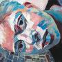 """sigrid hutter, """"halbzeit"""" (selbstportrait), 2016, 100 x 140 cm, acryl auf leinwand – erlas galerie"""