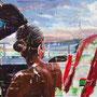 """dénesh ghyczy """"sunset drive"""", 2019, 100 x 130 cm, oil and acrylic on canvas – erlas galerie"""