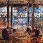 """dénesh ghyczy, """"lakeside lodge"""", 2021, 140 x 160 cm, oil & acrylic on canvas – erlas galerie"""