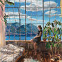 """dénesh ghyczy, """"room with a view"""", 2020, 165 x 135 cm, oil and acrylic on canvas – erlas galerie"""