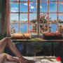 """dénesh ghyczy, """"legs"""", 2020, 70 x 55 cm, oil and acrylic on canvas – erlas galerie"""