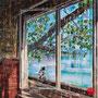 "dénesh ghyczy, ""le lac"",  2018, 120 x 130 cm, öl und acryl auf leinwand – erlas galerie"