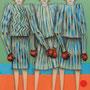 "michou hutter, ""vor dem kampf"", 2020, 57 x 41 cm, oil on cotton fabric – erlas galerie"