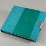 tagebuch I, 150 x 170 mm, 116 seiten a 70g/m2, halbleineneinband & kaharipapier, buchstaben mein entwurf, farben nach kundenwunsch