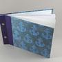 A5 quer- halbleineneinband & von hand hergestelltes einbandpapier aus indien, doted paper, vorsatz bütte