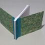 skizzenbuch A5 quer- halbleineneinband & handmarmoriertes papier von katy ebru, st. petersburg, vorsatz bütte, nach kundenwunsch