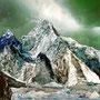 Mountain of water #3 K2 – Handcut paper collage 30cm x 30cm © Edel Seebauer