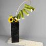 G. Jost: Sonnenblumen, Sonnenblumenstiele auf Peddigrohr