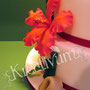 3 stöckige Hibiskus Fondanttorte mit Bambus und Glückskeksen - rot orange - Rand