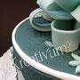 Geschenk Fondanttorte - Mint - Detail
