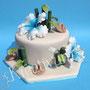 Hibiskus Hochzeitstorte hellblau - Karibikhochzeit