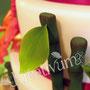 3 stöckige Hibiskus Fondanttorte mit Bambus und Glückskeksen - rot orange - Bambus
