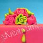 Grün Pinke Fun Fondanttorte - Ribbonrose