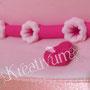 Geschenk Fondanttorte - Pink - Blümchen und Herzchen am Rand