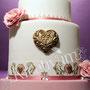 Traum Hochzeitstorte rosa gold - Showtorte für Hamburg - goldenes Herz