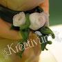 Rechteckige Hochzeitstorte mit Brautpaar und Fotodruck - Brautstrauß