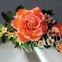 70 Geburtstagstorte mit Rosengesteck - Rose mit Beiblatt