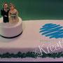 Rechteckige Hochzeitstorte mit Brautpaar und Fotodruck