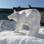Loup - Festival sculpture neige - La Bresse - 2012<br><br>sculpture animalière . sculpture neige . art éphèmere