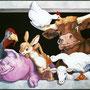 Décor façade Boucherie Charcuterie Baudoin - Gérardmer (88) - Acrylique sur panneau 4 m x 3 m - 2001<br><br>fresque . trompe l'oeil . peinture animalière . boeuf . cochon . lapin . oie . dindon . mouton . poulet