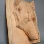 Tête loup - Pin Cembro - 30 x 37 x 12 cm - 2015<br><br>sculpture bois . sculpture loup . sculpture animalière
