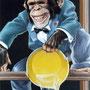 Chimpanzé farceur (détail) -  Place des Vosges Epinal (88) - Acrylique sur panneau - 1,20 x 2, 30 m - 1999<br><br>fresque . trompe l'oeil . primate . singe