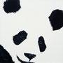 Panda - Acrylique sur bois - Polyptique - 50 x 50 cm <br><br>Peinture . peintre animalier . artiste peintre . peinture animalière . animal . peinture bicolore