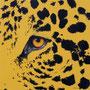Léopard - Acrylique sur bois - Polyptique - 50 x 50 cm <br><br>Peinture . peintre animalier . artiste peintre . peinture animalière . animal . peinture bicolore