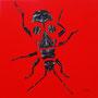 Gendarme - Acrylique sur bois - Polyptique - 50 x 50 cm <br><br>Peinture . peintre animalier . artiste peintre . peinture animalière . animal . peinture bicolore