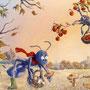 Auberge des Fourmis l'Automne - Restaurant Bruyères (88) - Acrylique sur panneau - 1,20 x 1,50 m - 1998<br><br>fresque . trompe l'oeil . peinture humouristique . insecte