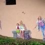 Le Sentier des Écoliers - Trompe-l'oeil - Acrylique sur façade - St-Maurice-Sur-Moselle (88) - 2013<br><br>trompe l'oeil . fresque . mur peint . vosges