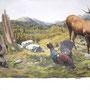 Faune et Gibier des Hautes-Vosges - Acrylique sur panneau façade - 3 x 1,5 m - Ban de Sapt - 2012<br><br>peinture animalière . décors hautes vosges . fresque . trompe l'oeil . peinture cerf . peinture sanglier . peinture tétras