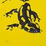 Salamandre - Acrylique sur bois - Polyptique - 50 x 50 cm <br><br>Peinture . peintre animalier . artiste peintre . peinture animalière . animal . peinture bicolore