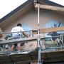 Décor sur pignon maison - Sapois (88) - Acrylique - 2003<br><br>fresque . trompe l'oeil . décors scène champêtre . vieux métiers . peinture attelage boeuf . débardage . forêt . vosges . peinture cerf