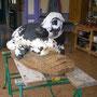 Veau Vosgien - Sculpture en bois d'Iroko - Sculpteur : Christian Claudel - 2013<br><br>sculpture animalière . sculpture veau . veau race vosgienne