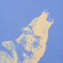 Loup - Acrylique sur bois - Polyptique - 50 x 50 cm<br><br>Peinture . peintre animalier . artiste peintre . peinture animalière . animal . peinture bicolore