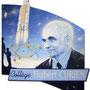 """""""Hubert Curien, l'Homme aux 7 vies"""" - Ancien résistant, ministre de la recherche, directeur du CNRS, père de la fusée Ariane...<br><br>trompe l'oeil . fresque . mur peint . ariane . ministre de la recherche . espace"""