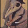 Corbeau au comptoir, acrylique sur toile 10x7cm-2013