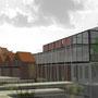 Greffe architecturale surplombant les bassins de gestion  et d'expérimentation des eaux