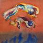 Hopp   2012 , canvas , aquarell , 150 x 170 x 4,5 cm
