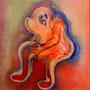 Thinker   2012 , canvas , aquarell , 60 x 50 x 4 cm