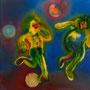 SOCCER    2012 , canvas , aquarell , 61 x 61 x 5 cm