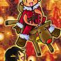 Xmasお迎え<br><small>赤鼻のトナカイにするつもりはなかった。が、なんとなくテカらせてしまった(苦笑)。クリスマスはやっぱ、明るくね。<br>10回クイズでよく、シカって10回言わせてから「サンタが乗っているのは?」「トナカイ!!」「はずれ~」なんてヒッカケがありますが・・・乗ってもいいんじゃね!?というワケで乗せてみた。</small>