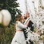 Brautkleid zum Rock n' Roll tanzen aus Seidentaft mit Schnürung im Rücken