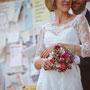 Zartes Brautkleid aus aufwendig verarbeiteter Chantilly-Spitze