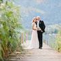 Brautkleid aus Seidenchiffon mit zartem Farbverlauf und auf Organza aufgearbeiteter Spitze
