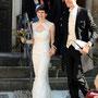 Brautkleid aus Seidenorganza mit Spitzenbordüre, angelehnt an unser kurzes Kleid aus der Kollektion